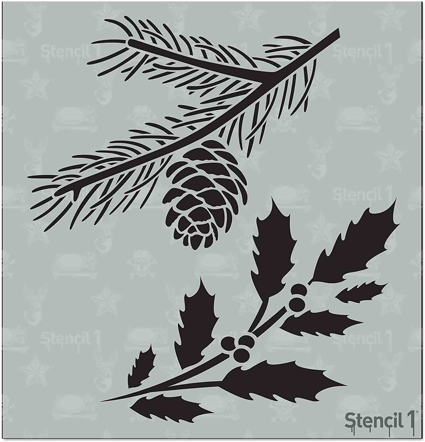 Stencil1 Holly and Evergreen Branches Stencil - Lightweight Reusable Mylar Template Stencil Great for Winter Holidays & Christmas Home Decoration - 5.75