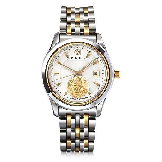 binlun Mens oro tono impermeable automático relojes mejor regalo Zodiac Reloj de lujo para hombre: Amazon.es: Relojes