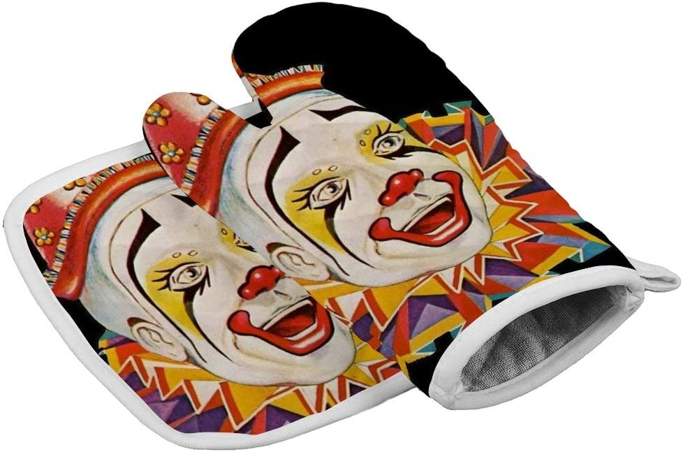 Insulation Gloves Clown, Scary, Horror, Clown, Clown Head, Circus, Vintage, Advertising, Poster, on Black. -up Heat Resistant Kitchen Pot Holder and Oven Mitt Set for bbqmicrowave Oven