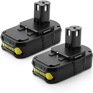 Energup Replacement 2500mAh P102 Ryobi 18V Lithium Battery for Ryobi 18-Volt ONE+ Battery P104 P105 P102 P103 P107 Cordless Tools Ryobi 18v Battery (2Pack)