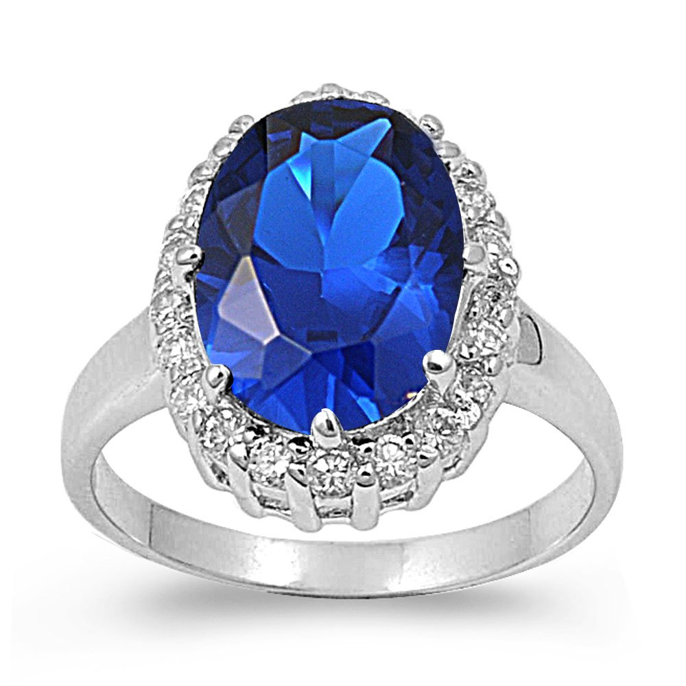 CloseoutWarehouse Halo Oval Simulated Sapphire Cubic Zirconia Ring Sterling Silver 925