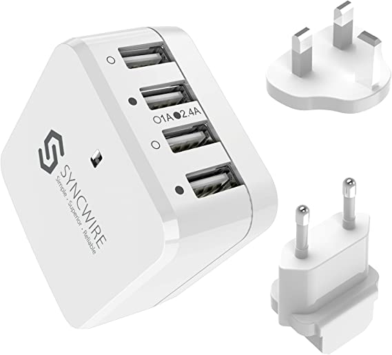 White 4A 6-Port USB Portable Travel AC Plug US Home Wall Power Adapter Charger