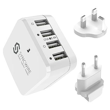 Syncwire Spartechnik - Cargador USB (6,8 A, 34 W, 4 Puertos, con ...