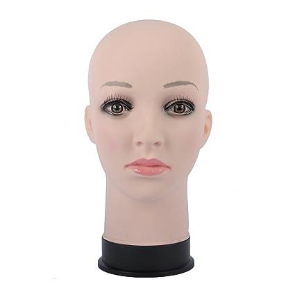 Calva maniquí de cabeza para pelucas, peluca, gafas, pelo con C Pinza para