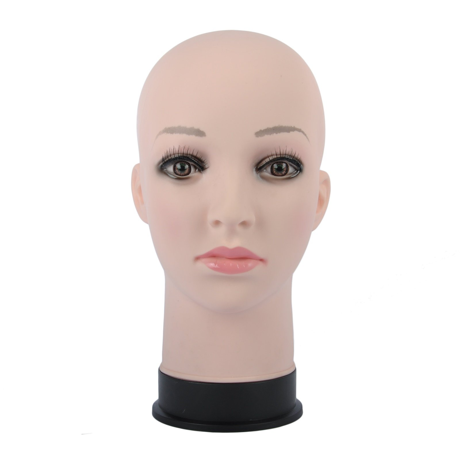 BHD BEAUTY Bald Mannequin Head Beige Female Professional Cosmetology for Wig Making, Display wigs, eyeglasses, hairs with T pins