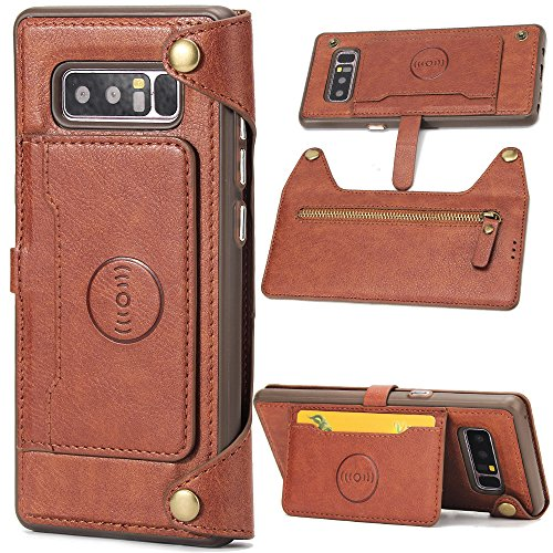 Galaxy Note 8 Case, BAISRKE Detachable Wallet Folio Premium Vegan Leather Wallet Case Cover with Kickstand / Card Slot Cash Pocket / Car Mount Holder Protection Case for Samsung Galaxy Note 8 (Brown)