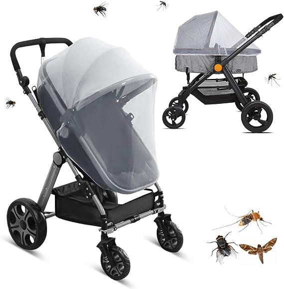 LEMESO Moustiquaire Poussette Universelle pour Landau, Auto-siège, Lit Parapluie, Protection Anti-insectes pour Bébés, Enfants