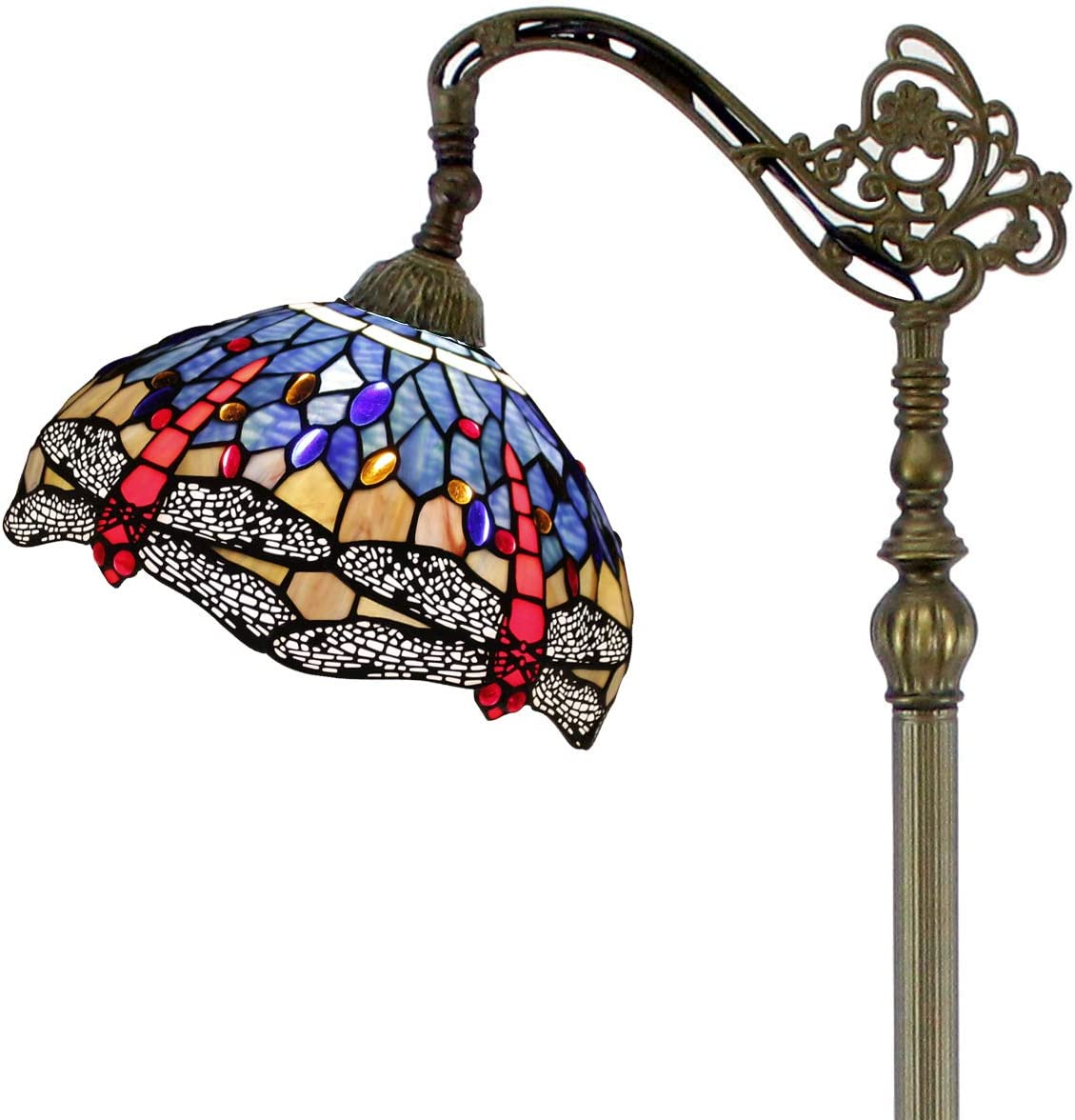 Tiffany Style Reading Floor Lamp Blue Stained Glass with Crystal Bead Dragonfly Lampshade 64 Inch Tall Antique Arched Base for Bedroom Living Room Lighting Table Gifts S688 WERFACTORY
