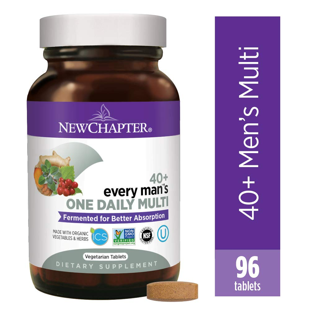 New Chapter Men's Multivitamin, Every Man's One Daily 40+, Fermented with Probiotics + Saw Palmetto + B Vitamins + Vitamin D3 + Organic Non-GMO Ingredients, 96 Count by New Chapter