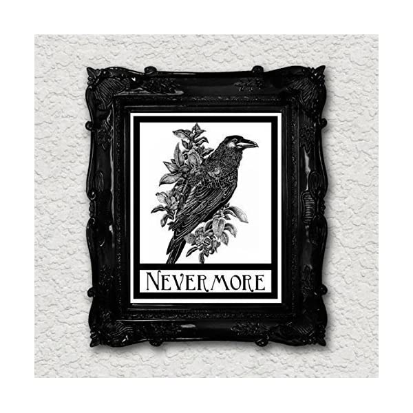 Nevermore Raven Crow Art Print Edgar Allen Poe Halloween Gothic Art Blackbird Black Bird Wall Decor Vintage 8x10 4
