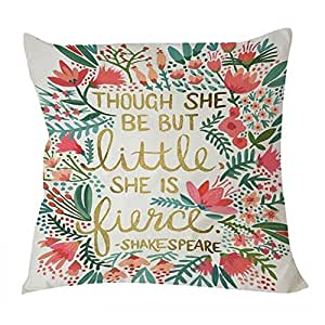Cukudy B Lyster shop Shake Speare Quote Though She Be but Little She Is Fierce W013 Cotton & Polyester Soft Zippered Cushion Throw Case Pillow Case Cover