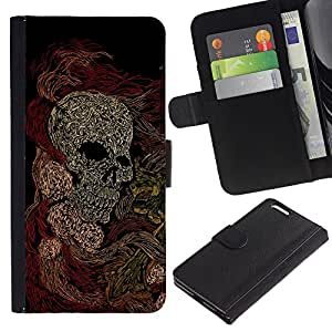 KingStore / Leather Etui en cuir / Apple Iphone 6 PLUS 5.5 / Cráneo Arte Pintura Dibujo Esqueleto