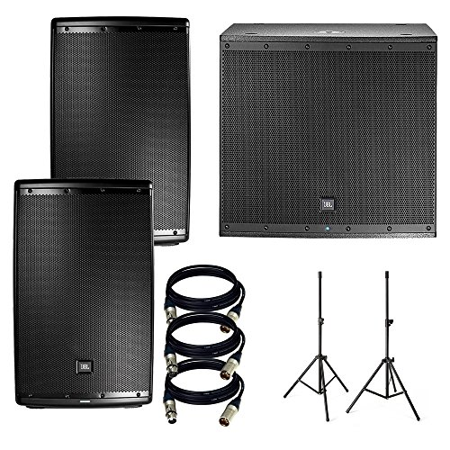 JBL EON 615 15 in Powered PA Speaker Pair Bundle + JBL EON618S 1000 Watt Powered 18 Inch Subwoofer + Accenta Speaker Stand + 3 XLR to XLR Cables 25Ft Ea ()