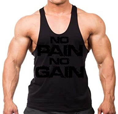 d00e2404970a1 No Pain No Gain Black on Black Stringer Tank Top Y Back XS-2XL (. Roll over  image to zoom in. Interstate Apparel Inc