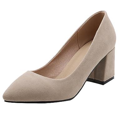 UH Damen Spitz High Heels Geschlossene Pumps mit Blockabsatz Bequeme Work Office Schuhe