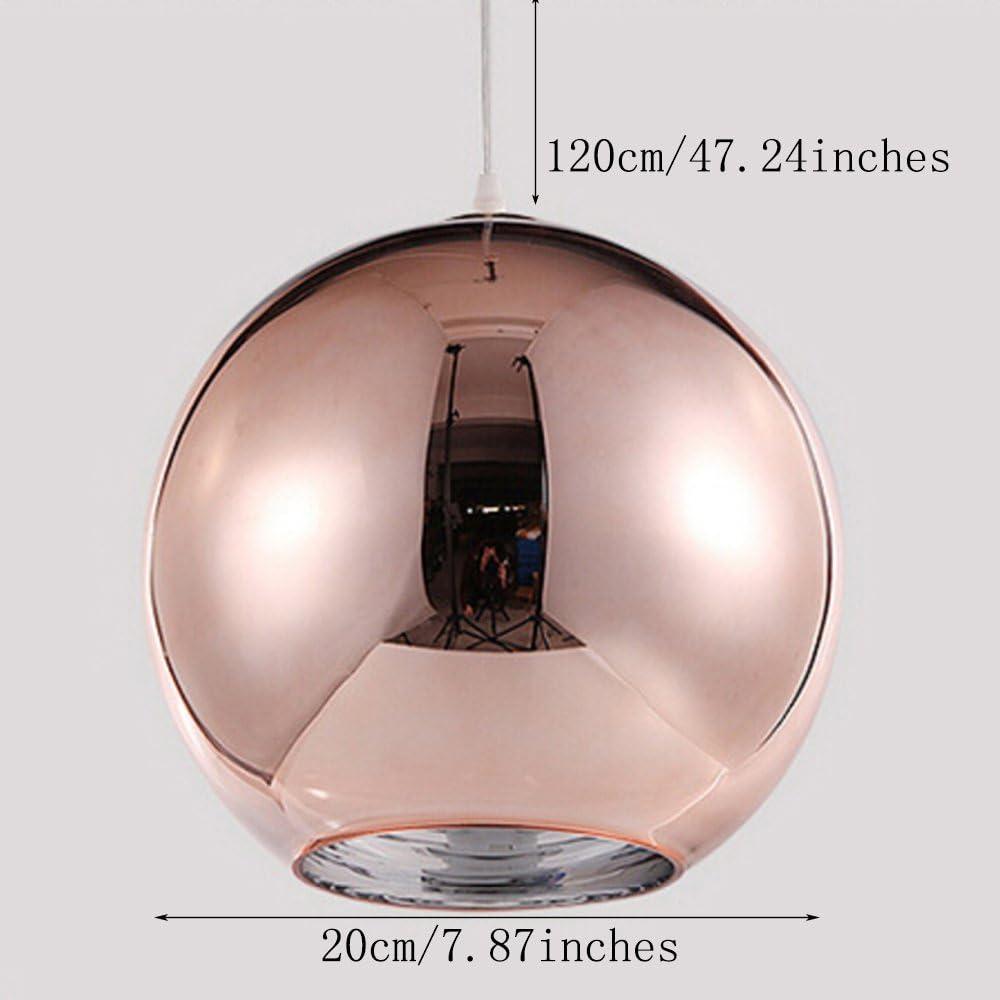 Huahan Haituo Abat-jour Moderne Cuivre Miroir Lustre Boule Suspension globe en Chrome avec fil 120CM,Diam/ètre Argent, 25cm