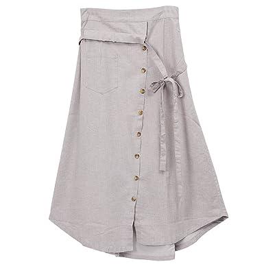 c0a9ce0aa Amazon.com: Amazhiyu Womens Linen Button Front Maxi Skirts with Pockets  Elastic Waist A Line Irregular Overalls Skirt High Low Hem (Light Grey):  Clothing