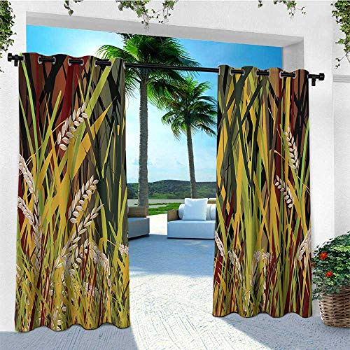 leinuoyi Nature, Outdoor Curtain Extra Long, Reeds Dried Leaves Wheat River Wild Plant Forest Farm Country Life Art Print Image, for Patio Furniture W120 x L108 Inch Multicolor (Country Reeds Furniture)