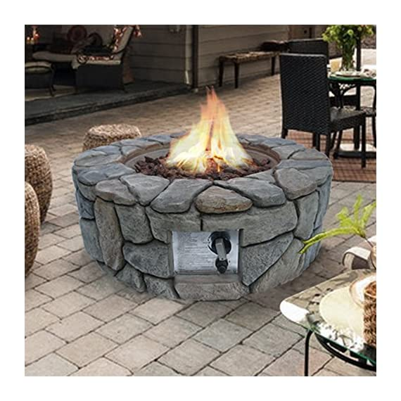 """Peaktop HF09501AA Round 40,000 BTU Propane Gas Fire Pit Stone Look for Outdoor Patio Garden Backyard Decking with PVC Cover, Lava Rock, 28"""" x 28"""", Gray - STYLISH DESIGN: This stylish contemporary fire pit is a wonderful addition to any patio and is sure to provide you and all of your guests with warmth in a natural space. INCLUDES: 6. 6 lbs Lava Rock and PVC Cover Adjustable flames are the perfect addition to light up the garden. - patio, outdoor-decor, fire-pits-outdoor-fireplaces - 618usqpfSML. SS570  -"""