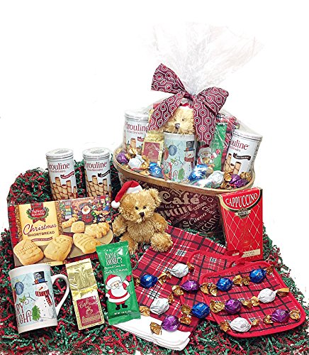 Coffee & Cappuccino Christmas Holiday Gourmet Gift Basket - Godiva Chocolate Truffles, Mug, Coffee, Cappuccino, Hot Cocoa, Cookies, Towel, Potholders & Christmas Teddy Bear