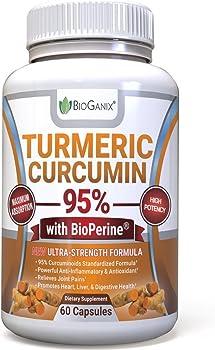 Bioganix 60 Capsules Organic Turmeric 95% Anti Inflammatory Supplement