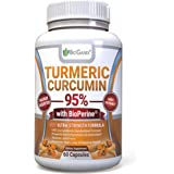 Organic Turmeric Curcumin Extract Supplement 95% Standardized with BioPerine - Natural Anti-Inflammatory Powder Pills to Relieve Pain & Provide Supreme Health Benefits (1000mg)