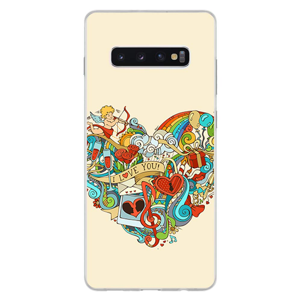 BJJ SHOP /Étui Transparent pour Samsung Galaxy S10 Plus Coque en Silicone Souple TPU Design: Mandalas Multicolores