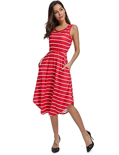 010b3c0f08 INWECH Women s Summer Sleeveless Striped Flowy Casual Maxi Dress with  Pockets (Red