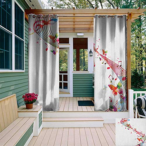 leinuoyi Music, Outdoor Curtain Panel Design, Colorful Artwork with Musical Notes and Butterflies Springtime Inspired Party Theme, Fabric W108 x L96 Inch Multicolor