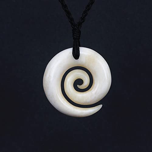 a jade carved the shop fern into jewellery is cm in unfurling diameter round on it of with new representative black greenstone cord zealand koru nz mana pendant leaf