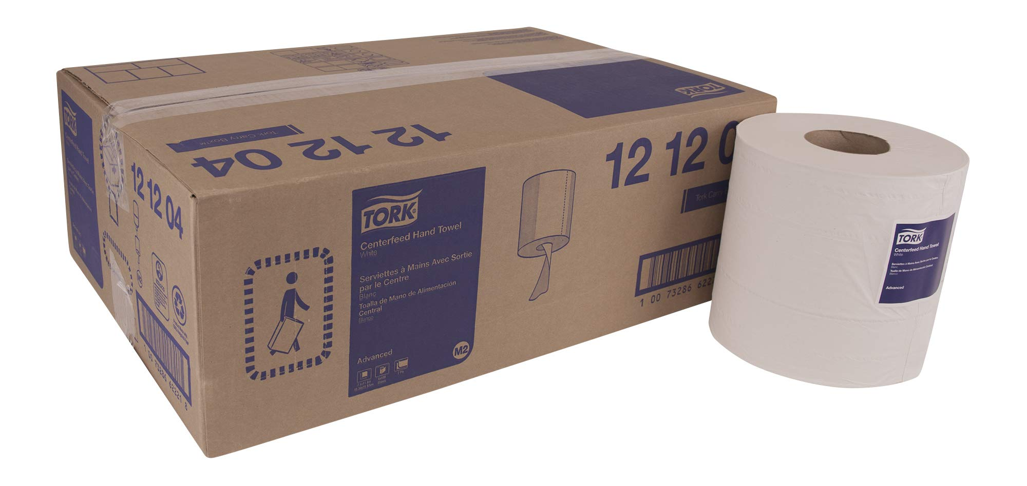 Tork Advanced 121204 Soft Centerfeed Hand Towel, 2-Ply, 7.6'' Width x 11.8'' Length, White (Case of 6 Rolls, 600 per Roll, 3,600 Towels) for use with Tork 559020A or 559028A by Tork