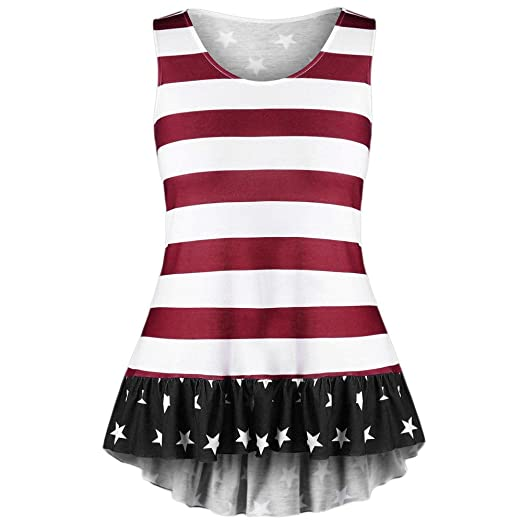 4d7097ea465 HGWXX7 Tank Tops Women Plus Size American Flag Print Sleeveless Cotton  Blouse (XL