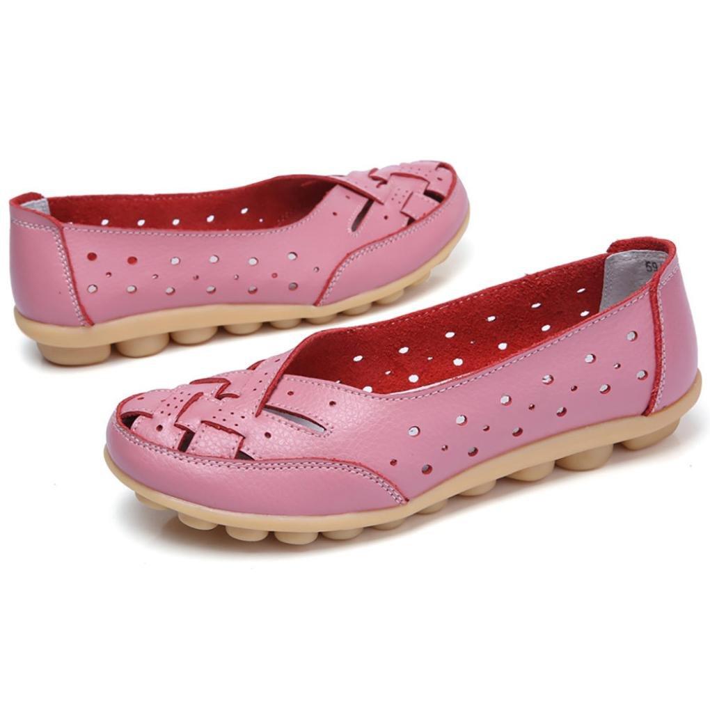 Igemy Frauen Runde Toe Schuhe, Dame Einfarbig Flache Sandalen Leder Knouml;chel Lauml;ssige Slipper Soft Schuhe  39 EU|Rosa