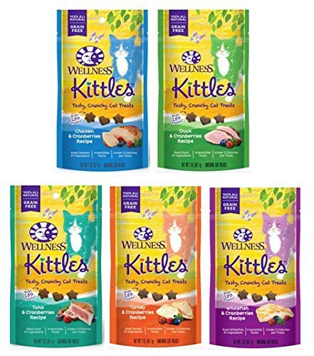 Wellness Kittles Cat Treat Variety  5 Pack - 5 Flavors - 2 oz Each (5 Total Pouches)