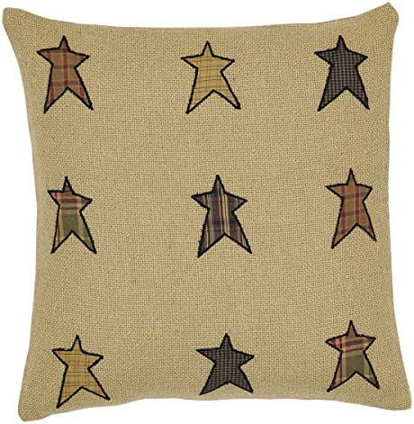 VHC Brands Primitive Bedding Sutton Star Appliqued Cotton Burlap Square Cover Insert Pillow, 16 x 16 , Natural Tan
