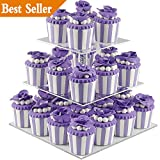 DYCacrlic 3 Tiers Stacked Acrylic Cupcake Stand - Tired Cake Stand - Cupcake Holder - Dessert Display Stand Tower for Family Party Events (Square)