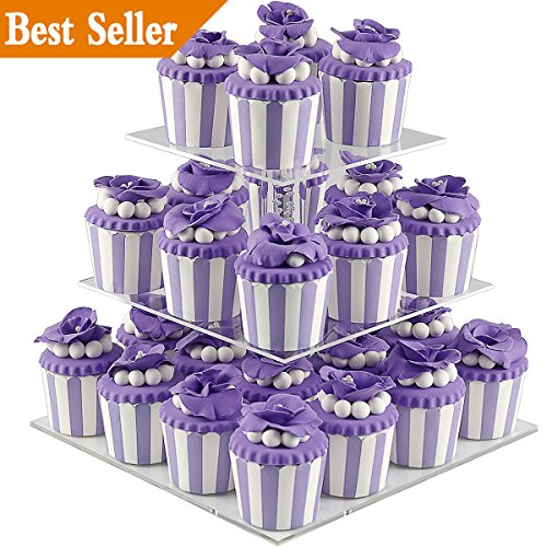 DYCacrlic 3 Tiers Stacked Acrylic Cupcake Stand - Tired Cake Stand - Cupcake Holder - Dessert Display Stand Tower for Family Party Events (Square) (3 Tier Food Stand)
