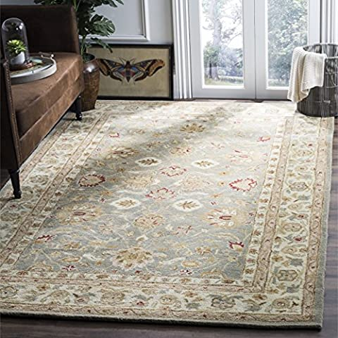 Safavieh Antiquities Collection AT822A Handmade Traditional Oriental Grey Blue and Beige Wool Area Rug (5' x (Yellow Grey Blue Area Rug)