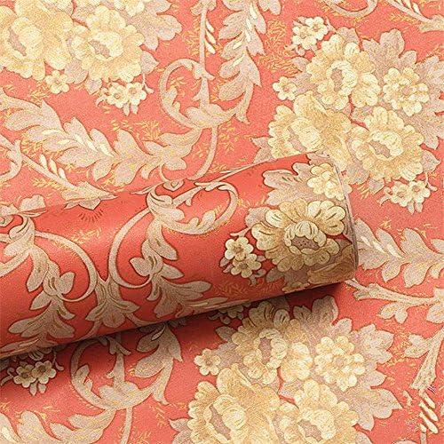 Moyishi高級壁紙花柄クロスはがせる防水壁紙シール超簡単リフォーム45cmx2M(赤)