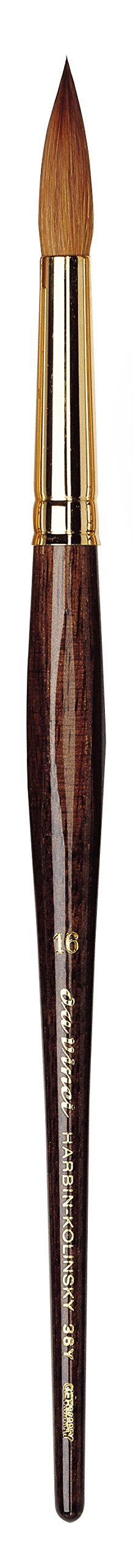 da Vinci Watercolor Series 36Y Paint Brush, Round Harbin Kolinsky Red Sable with Anthracite Hexagonal Handle, Size 16