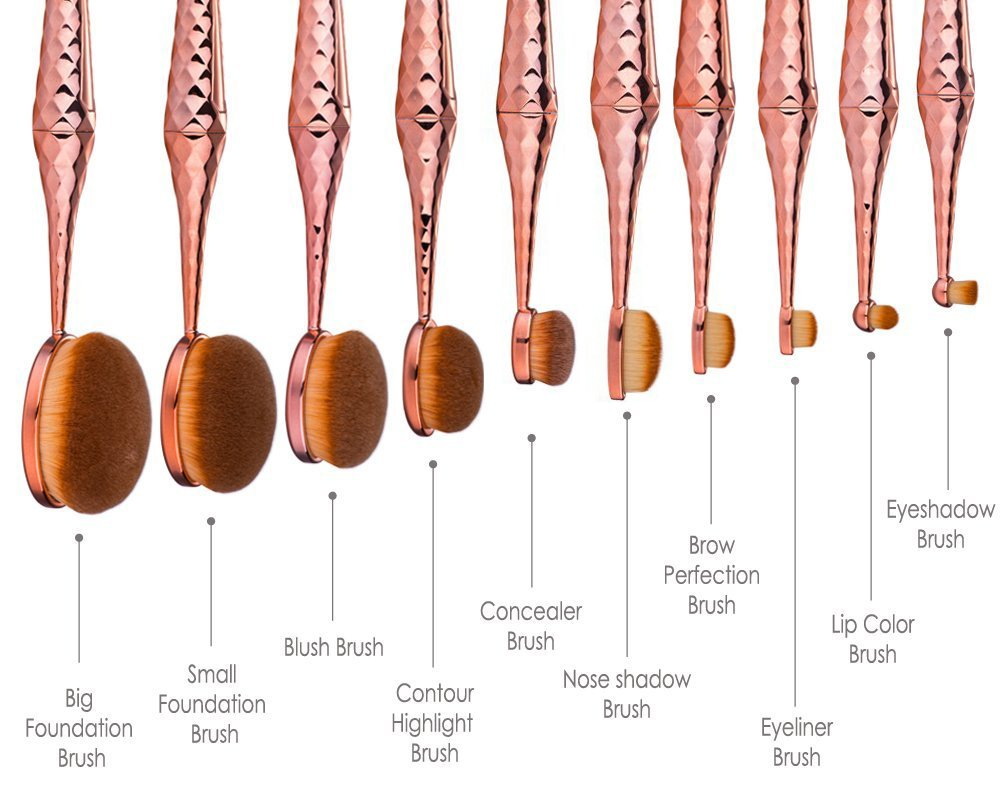 Micup Diamond Shape 10pcs Oval Makeup Brush Set Foundation Contour Concealer Blending Cosmetic Brushes by Micup
