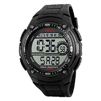 WULIFANG Mens Sports Watch Moda Casual Negro Luz Led Reloj S Antichoque Reloj Digital Mens Sports