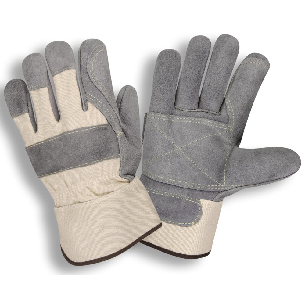 West Chester Protective Men/'s Double-Leather Palm Work Gloves w//Safety Cuffs M