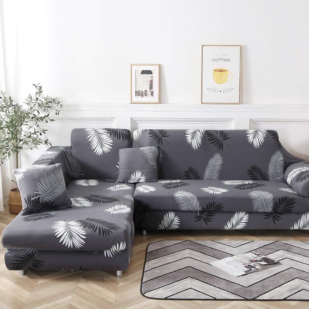 laamei' Funda de Sofa Elástica Chaise Longue Brazo Largo Derecho Funda Cubre Sofá Modelo Acolchado Diseñada de Forma L Protector para Sofá de Poliéster y Spandex Color Sólido
