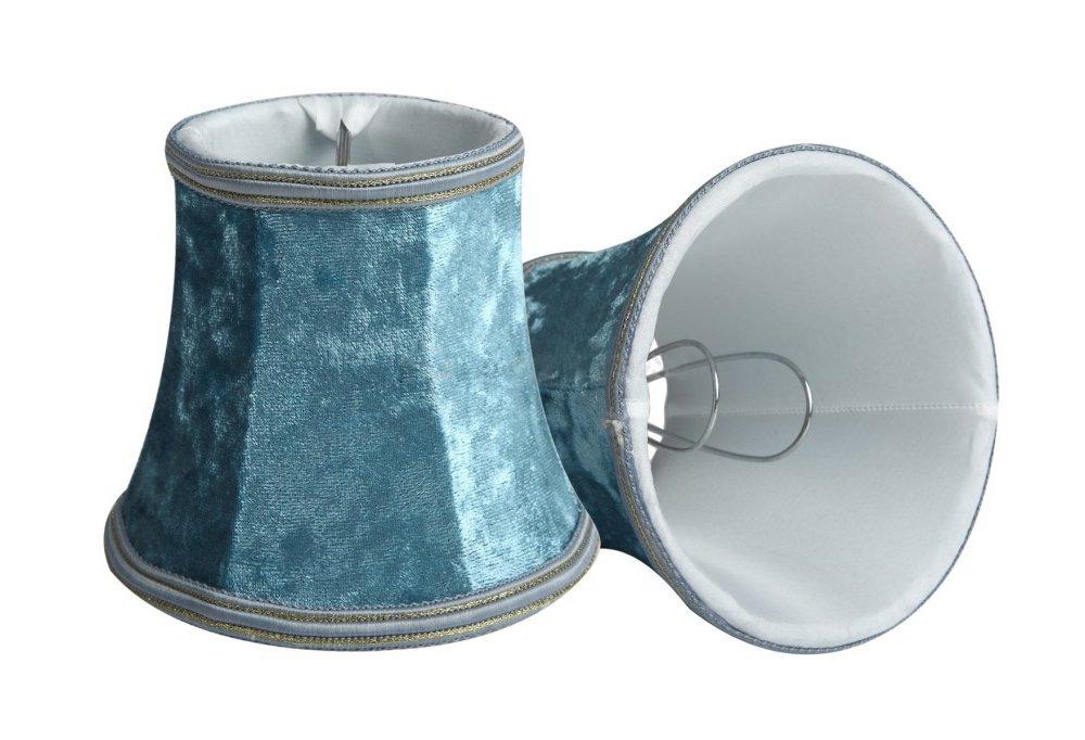 Splink 2pcs Style Européen Clip-on Abat-jour A Pince en Tissu Handmade pour Bougie Lustre Lampe de Table Applique Murale 80*120*110mm