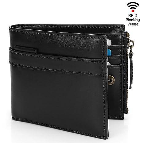 91c36a3414b172 Herren Geldbörse Echtleder Doppelschicht Kartenhalter Brieftasche mit RFID  & NFC Schutz Herren Portemonnaie Reißverschlusstasche für Münze