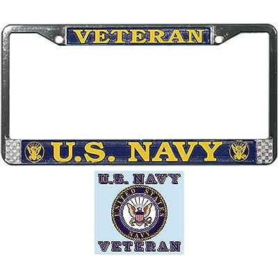 Butler Online Stores U.S. Navy Veteran License Plate Frame Gift Bundle with U.S. Navy Veteran Decal: Automotive