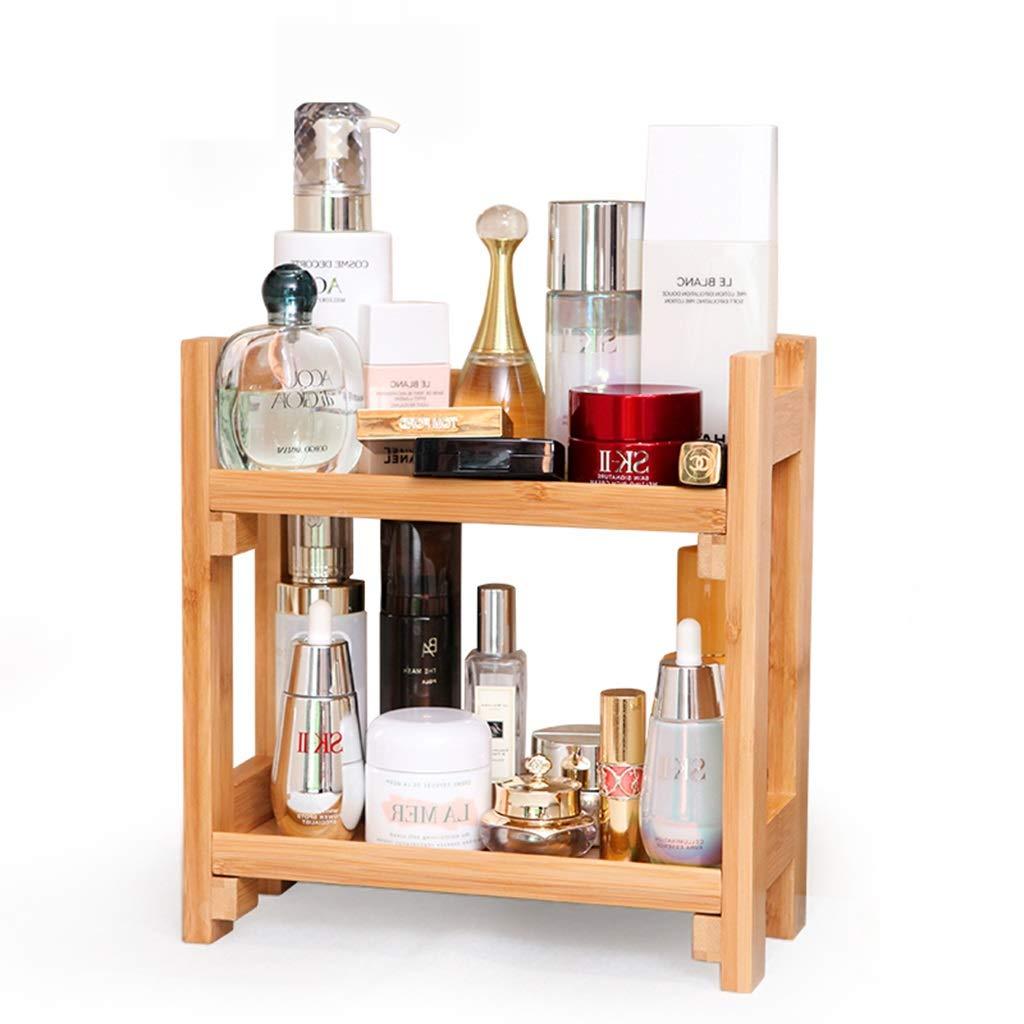 Cosmetic storage rack, desktop storage rack household multi-layer rack bathroom corner cosmetics storage rack kitchen container finishing rack ( Color : Wood color , Size : 32.51625cm )