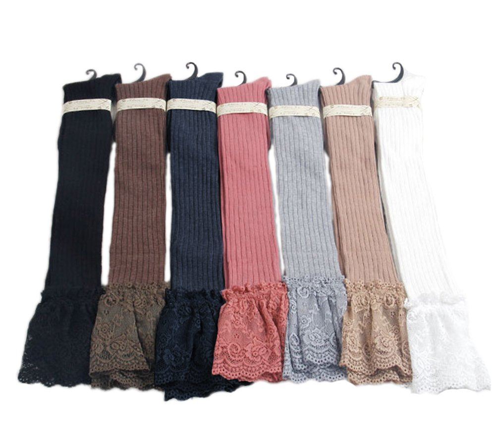 Vimans 2016 Women's Sexy Lace Edge Knee High Stockings Boot Socks Pack of 7 A