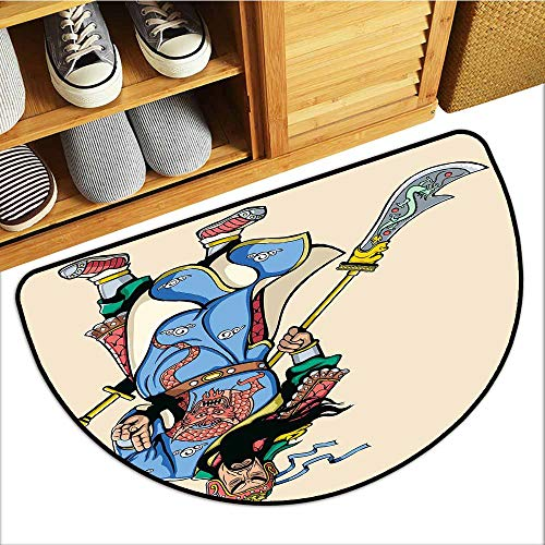 Axbkl Printed Door mat Ancient China Legendary Chinese Culture Figure Letters Brave Ancient Figures Illustration All Season General W30 xL18 -